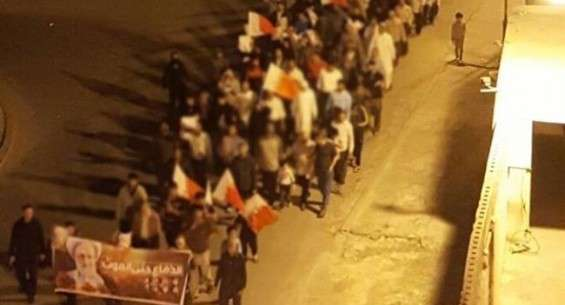 Bahraini protesters demonstrate in support of Shia cleric