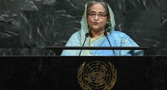 Bangladesh's Prime Minister Sheikh Hasina addresses the 72nd Session of the United Nations General assembly, at the UN headquarters in New York, September 21, 2017